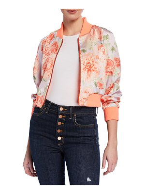 Alice + Olivia Duke Raglan-Sleeve Cropped Reversible Bomber Jacket
