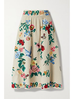Alice + Olivia earla embroidered cotton and linen-blend midi skirt