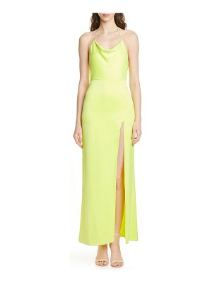 Alice + Olivia eliza cowl neck high slit maxi slipdress