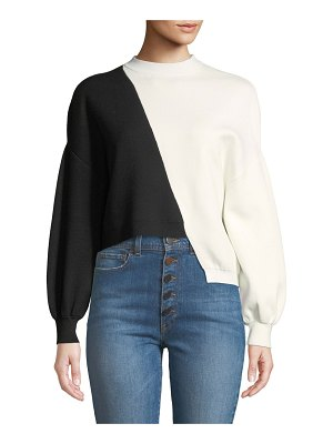 Alice + Olivia Elyse Cropped Asymmetrical Pullover