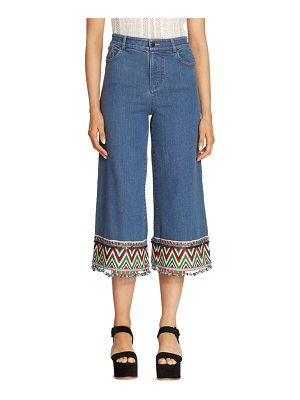 Alice + Olivia Embroidered Cropped Jeans