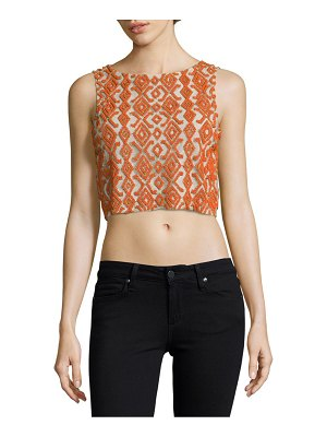Alice + Olivia Embroidered Cropped Top