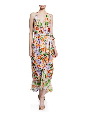 Alice + Olivia Evelia Floral-Print Asymmetric Ruffle Maxi Dress