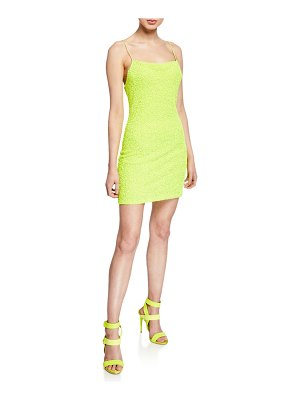 Alice + Olivia Harmie Sequin Cowl-Neck Mini Cocktail Dress