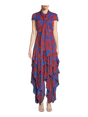 Alice + Olivia Ilia Floral Tie-Neck Layered Ruffle Dress
