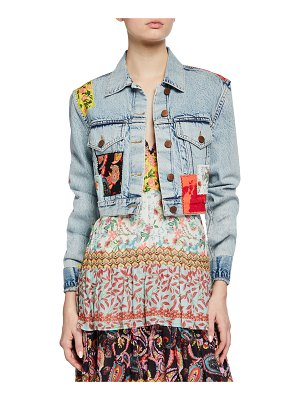 ALICE + OLIVIA JEANS Cropped Boxy Jacket with Patchwork