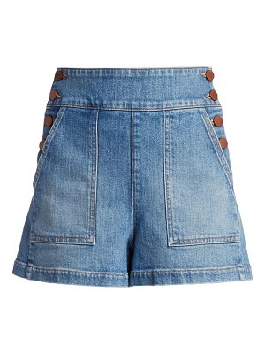 ALICE + OLIVIA JEANS donald button-side denim shorts