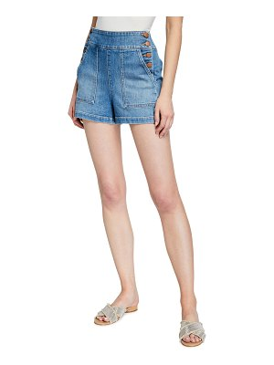 ALICE + OLIVIA JEANS Donald High-Rise Button Shorts