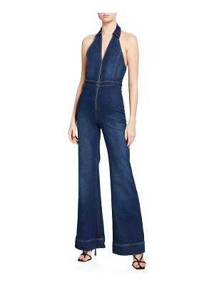 ALICE + OLIVIA JEANS Gorgeous Halter-Neck Fitted Jumpsuit