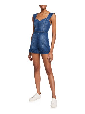 ALICE + OLIVIA JEANS Iman Short Denim Romper