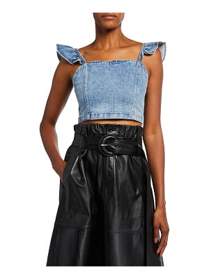 ALICE + OLIVIA JEANS Kiley Flutter-Sleeve Crop Top