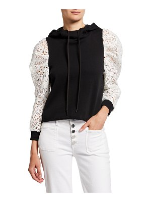 ALICE + OLIVIA JEANS Muffy Puff-Sleeve Hoodie with Lace
