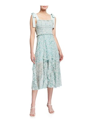 Alice + Olivia Jocelyn Smocked Midi Dress with Bow Straps