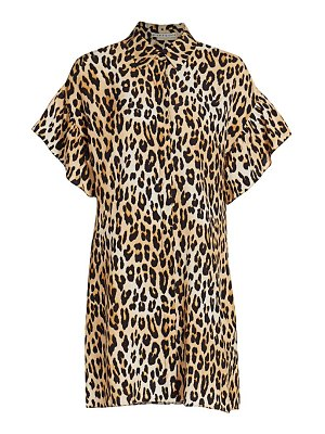 Alice + Olivia jude ruffle-sleeve leopard shirtdress