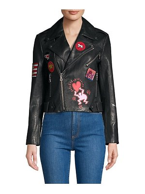Alice + Olivia keith haring x  cody painted embroidered leather jacket