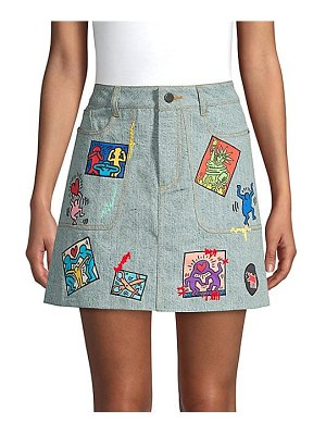 Alice + Olivia keith haring x  coletta patchwork mini skirt