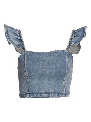 ALICE + OLIVIA JEANS kiley flutter-sleeve denim cropped top