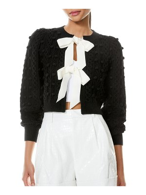 Alice + Olivia Kitty Puff-Sleeve Bauble Knit Sweater with Bows