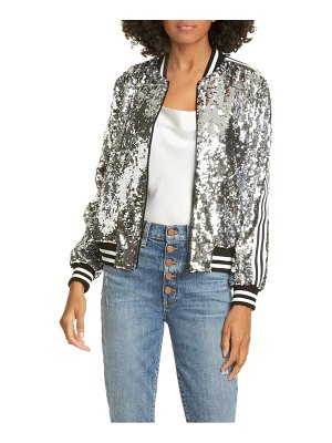 Alice + Olivia lonnie sequin cropped bomber jacket
