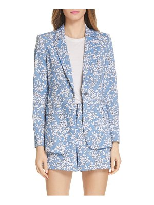 Alice + Olivia macey floral print cotton blend blazer