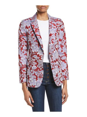 Alice + Olivia Macey Floral-Print Fitted Blazer Jacket