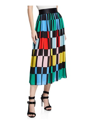 Alice + Olivia Melda Checkered Midi Gathered Skirt
