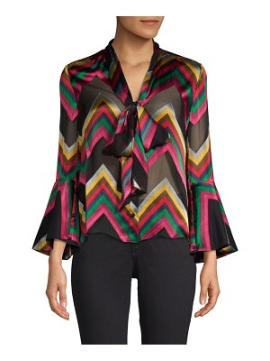 Alice + Olivia Meredith Printed Tie-Neck Bell-Sleeve Blouse