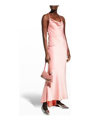 Alice + Olivia Montana Cowl-Neck Strappy-Back Maxi Gown