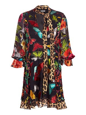Alice + Olivia moore printed stretch-silk shirtdress