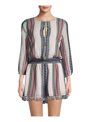 Alice + Olivia Nance Embroidered Smocked-Waist Cotton Romper