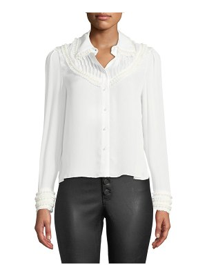 Alice + Olivia Noreen Pintuck Yoke Blouse