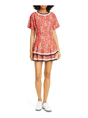Alice + Olivia palmira floral tie back tiered ruffle dress