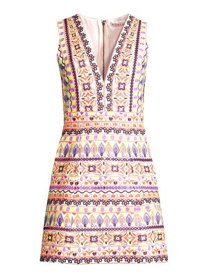 Alice + Olivia patty embroidered v-neck mini dress