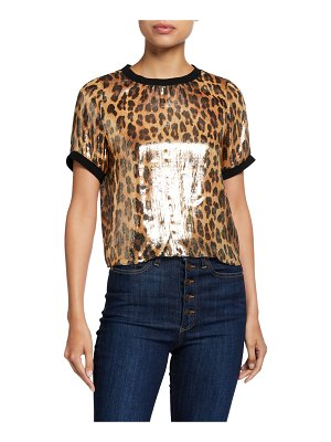 Alice + Olivia Piera Rib-Trim Metallic Tee