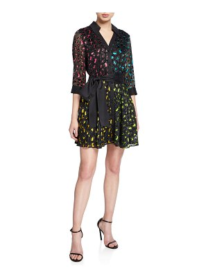 Alice + Olivia Raja V-Neck Mini Shirt Dress with Belt