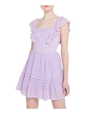 Alice + Olivia remada flutter sleeve eyelet fit & flare dress