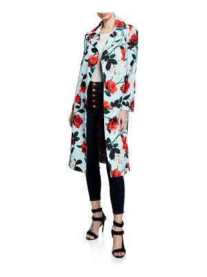 Alice + Olivia Rolanda Large-Lapel Coat w/ Belt