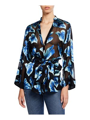 Alice + Olivia Rosario Leaf-Printed Button-Front Tie-Waist Kimono Top