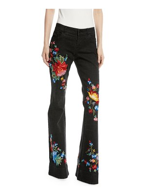 Alice + Olivia Ryley Low-Rise Floral-Embroidered Bell Jeans
