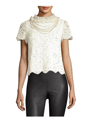 Alice + Olivia sarina embellished crochet lace top