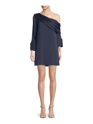 Alice + Olivia Serina One-Shoulder Draped Silk Dress