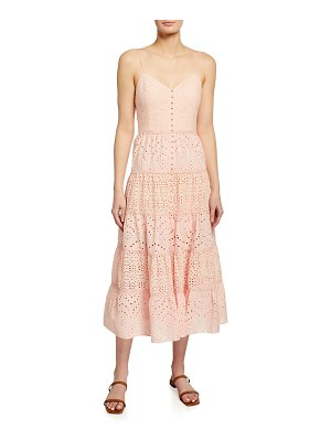 Alice + Olivia Shanti Button-Front Tiered Maxi Dress