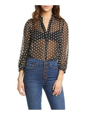 Alice + Olivia sheila embroidered sheer blouse