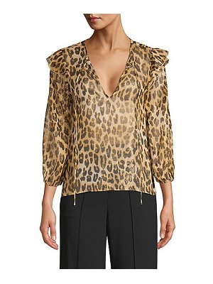 Alice + Olivia sissy leopard tiered ruffle blouse