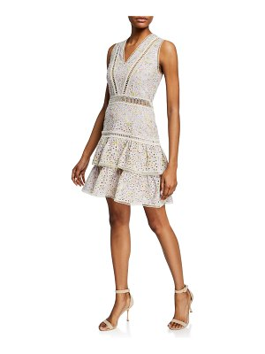 Alice + Olivia Tonie Sleeveless Eyelet Tiered Dress
