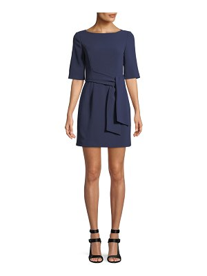 Alice + Olivia Virgil Tie-Front Boat-Neck Mini Dress