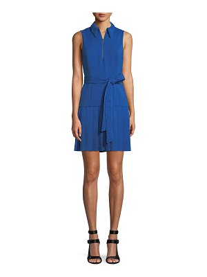 Alice + Olivia Zip-Front Sleeveless Pleated Shirtdress
