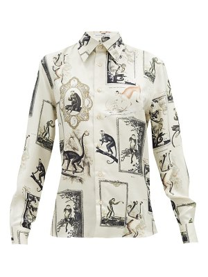Alister Mackie monkey and floral-print silk-twill shirt