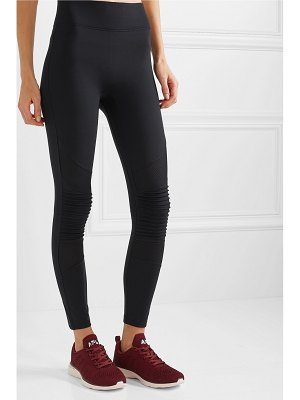 All Access debut moto mesh-paneled stretch leggings