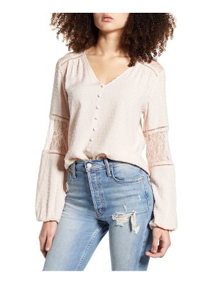 ALL IN FAVOR clip dot & lace blouse